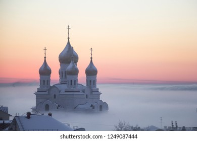 St. Michael the Archangel Cathedral in the fog. Russia, Arkhangelsk