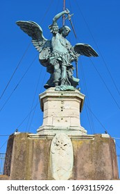 St. Michael the Archangel statue atop Castel Sant'Angelo ( Mausoleum of Hadrian ), Rome, Italy