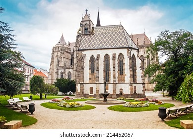 St. Michael Chapel and park near St. Elizabeth Cathedral in Kosice, Slovakia