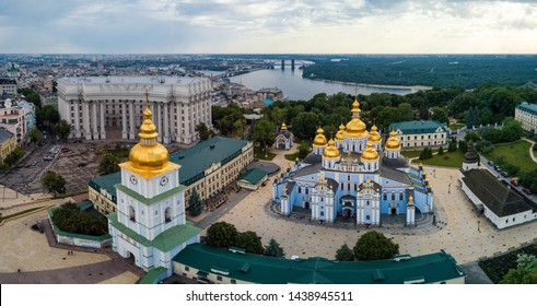 St. Michael's Golden-Domed Monastery aerial panoramic view with Dneiper river. Kiev, Ukraine.
