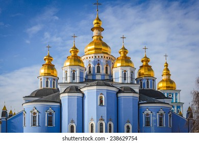 St. Michael's Golden-Domed Monastery cathedral under blue sky with clouds