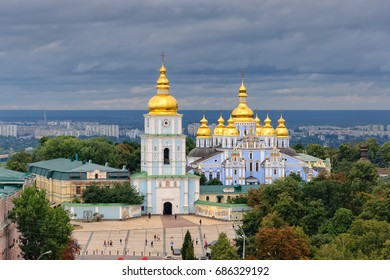 St Michael's Golden-Domed Monastery complex with cathedral and bell tower in Kiev, Ukraine. Beautiful Kyiv cityscape