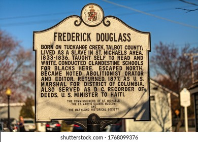St. Michaels, MD, USA - March 30, 2013: Frederick Douglass Historic Marker Sign in St. Michaels, Maryland