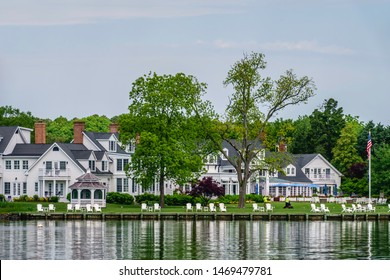 ST. MICHAELS, MD/USA - MAY 16, 2019: Riverside view of Inn at Perry Cabin, a colonial-style, 19th-century manor house converted to a working farm, then a riding academy, and now a luxury resort.