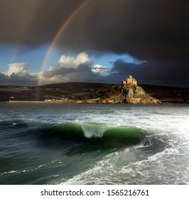 St Michael's Mount, Cornwall, rainbow after the storm,