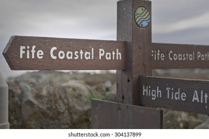 ST MONANS, UNITED KINGDOM - JUNE 22: Fife Coastal Path sign on June 22, 2015 in St Monans, UNITED KINGDOM. The Fife Coastal Path runs for 190 km along the coast of Fife.