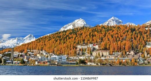 St. Moritz with Lake St. Moritz in autumn in the Engadine valley in Grisons (Graubünden), Switzerland, Swiss Alps