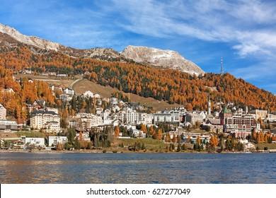 St. Moritz with Lake St. Moritz in autumn in Grisons (Graubuenden), Switzerland