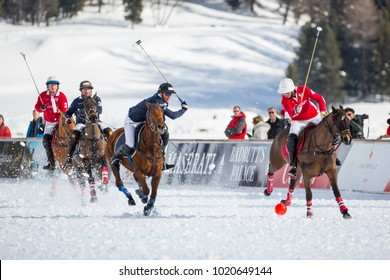 St. Moritz (Switzerland) - January 27, 2018 - 34TH SNOW POLO WORLD CUP - St. Moritz becomes the world capital of polo, teams from around the world compete for the coveted Cartier Trophy on the frozen