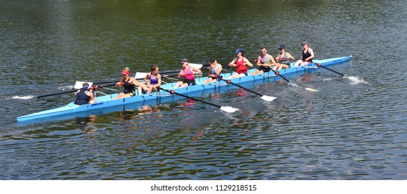 ST NEOTS, CAMBRIDGESHIRE, ENGLAND - JULY 07, 2018: Eights Rowing practise on the river Ouse.