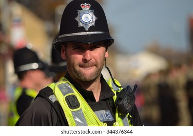 ST NEOTS, CAMBRIDGESHIRE, ENGLAND - OCTOBER 20, 2015: British Police on duty in numbers