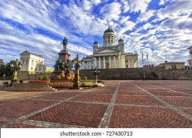 St. Nicholas Cathedral, and a monument of Alexander II on the Senate square (Senaatintori) in Helsinki, Finland.