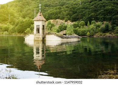 St Nicholas Church near Mavrovo lake in Macedonia. It was built in 1853 and submerged in the lake in 1953.