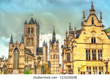 St. Nicholas Church, one of the most prominent landmarks in Ghent - East Franders, Belgium