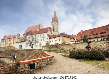 St. Nicholas Church and vineyard in front of it on a cloudy winter day. Town of Znojmo, Czech Republic, Moravia, Europe.
