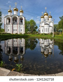 St. Nicholas Convent,  Cathedral of St. Nicholas and belfry are reflected in water of monastery pond, Pereslavl-Zalessky, Russia