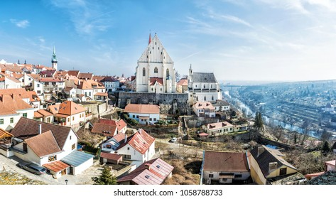 St. Nicholas' Deanery church, Znojmo, southern Moravia, Czech republic. Religious architecture. Travel destination. Panoramic photo.