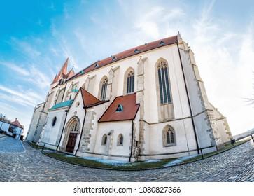 St. Nicholas' Deanery church, Znojmo, southern Moravia, Czech republic. Religious architecture. Travel destination. Fish eye photo.