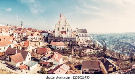 St. Nicholas' Deanery church, Znojmo, southern Moravia, Czech republic. Religious architecture. Travel destination. Panoramic photo. Retro photo filter.
