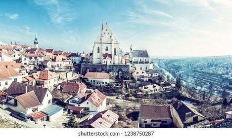St. Nicholas' Deanery church, Znojmo, southern Moravia, Czech republic. Religious architecture. Travel destination. Panoramic photo. Beauty photo filter.