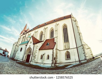 St. Nicholas' Deanery church, Znojmo, southern Moravia, Czech republic. Religious architecture. Travel destination. Fish eye photo. Old photo filter.