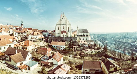 St. Nicholas' Deanery church, Znojmo, southern Moravia, Czech republic. Religious architecture. Travel destination. Panoramic photo. Retro photo filter.