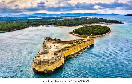 St. Nicholas Fortress at St. Anthony Channel near Sibenik in Croatia