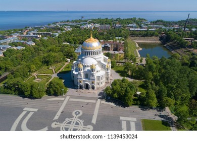St. Nicholas Naval Cathedral in a city landscape in the sunny May afternoon. Kronstadt, Russia