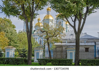 St. Nicholas Naval Cathedral or St Nicholas Maritime Cathedral, a major example of the so-called Elizabethan or 'Rastrellian Baroque in the western part of Central Saint Petersburg