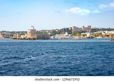 St. Nicoaus fortress, Mandraki harbor and Grand Master palace in City of Rhodes (Rhodes, Greece)