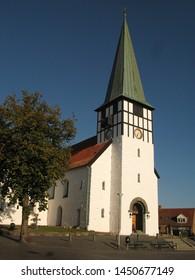 St. Nicolas' Church (Sankt Nicolai kirke) - white church from Rønne, Bornholm island, Denmark