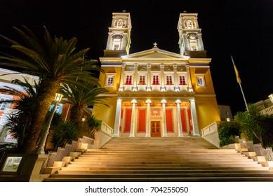 """St Nikolaos of the Rich"" church in Ermoupolis at night in Syros island, Greece"
