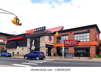 St. John's, NL, Canada - August 9, 2018:  Ontario based Craft Beer pubs Bier Markt and Mill Street Brew Pub opened pubs on Harbour Drive Street in 2016 in city with most bars per capita in Canada