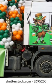 St. Patrick day-traditional decorated platform on wheels is ready to the beginning of celebratory procession