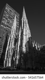 St. Patrick's Cathedral among skyscrapers in New York, black and white photography  Perfect background for a text
