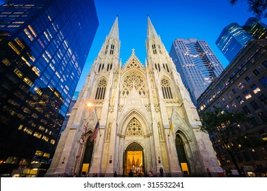 St. Patrick's Cathedral at night, in Manhattan, New York.