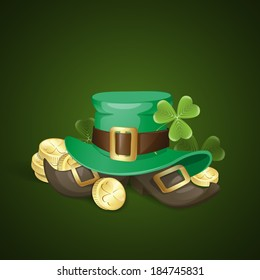 St. Patrick's Day Background With Leprechaun Hat And Clover.