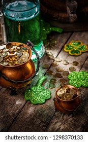 St. Patrick's Day composition on rustic wooden background