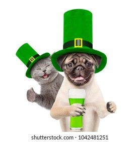 St Patrick's Day concept. Cat and dog in the hat of the leprechaun with a glasses of green beer shhowing thumbs up. isolated on white background