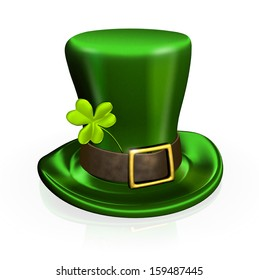 St. Patrick's Day hat with clover - isolated on white background