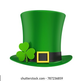 St. Patrick's Day Hat with Clover Isolated. 3D rendering