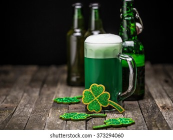 St. Patrick's day holiday celebration, lucky clover and green beer