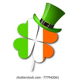 St. Patrick's Day illustration - clover/ shamrock, irish flag, hat