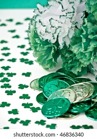 St. Patrick's Day inspired still-life of carnations and coins