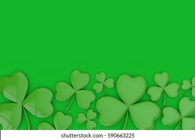 St Patrick's day Irish shamrock clover background. 3D rendering