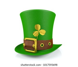 St. Patrick's Day Leprechaun Hat with Clover Isolated, 3D Rendering
