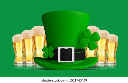 St Patricks Day leprechaun hat and beer glasses isolated on green background, front view. 3d illustration