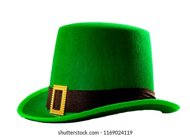 St Patricks day meme and March 17 concept with a green parade hat with a belt and buckle isolated on white background with a clip path cut out