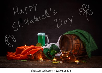 St. Patrick's Day message, Chalk inscription on a blackboard