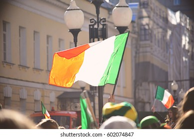 St. Patrick's day parade in Moscow (Arbat). Flag of Ireland